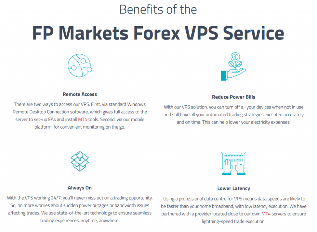 FP Markets Free Forex VPS Benefits