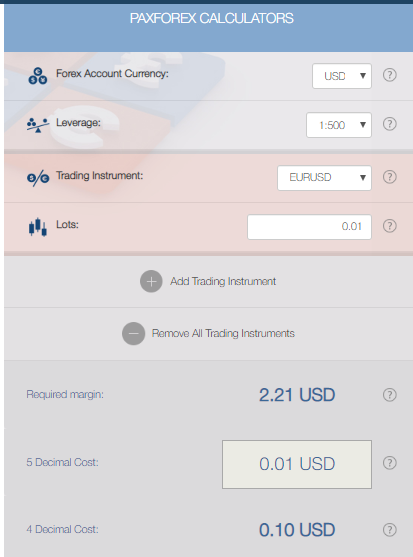 PaxForex Review - Trading Calculators