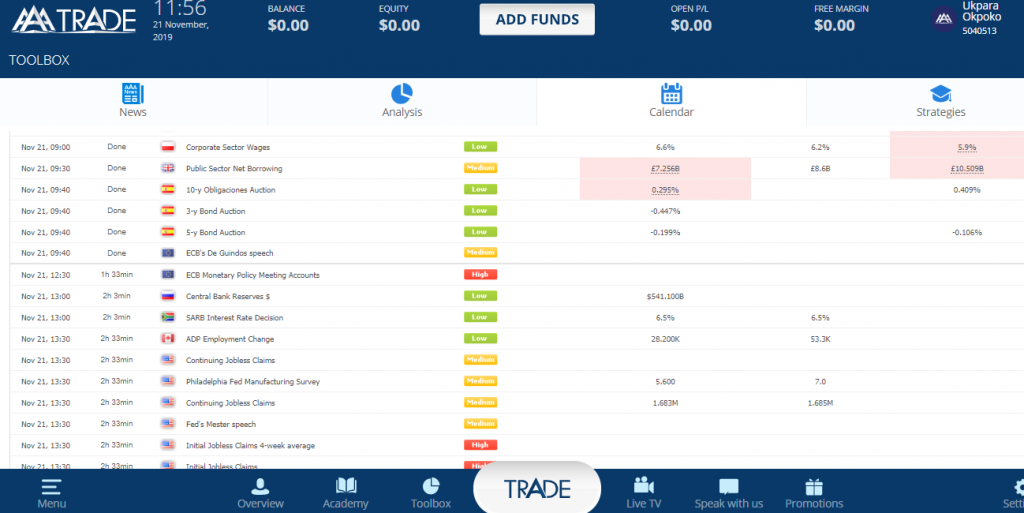 AAATrade Review - Economic Calendar