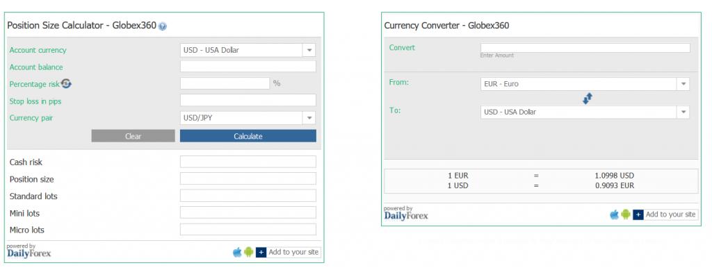 Globex360 Review - Trading Calculators